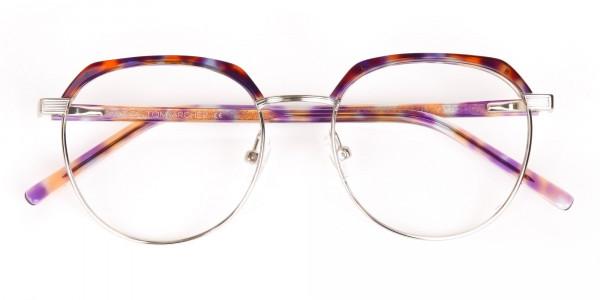 Passion Orange, Purple & Silver Browline Glasses-7