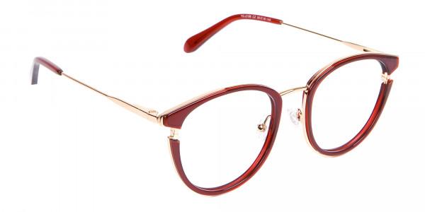 Unisex 50's Round Cat-eye Frame in Red & Gold-2