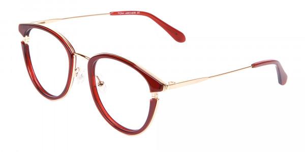 Unisex 50's Round Cat-eye Frame in Red & Gold-3