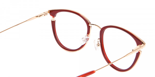 Unisex 50's Round Cat-eye Frame in Red & Gold-5