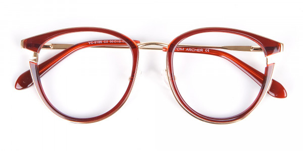 Unisex 50's Round Cat-eye Frame in Red & Gold-6