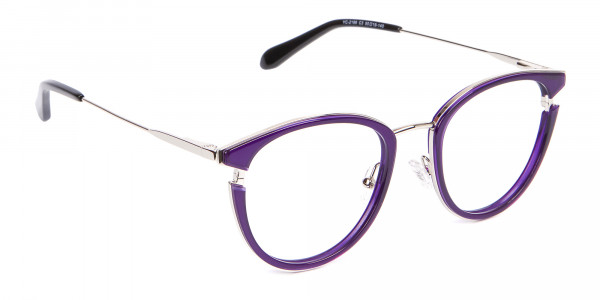 Violet Purple Retro Round Frame-2