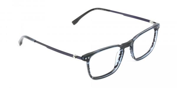Rectangular Striped Ocean Blue Stripe Ocean Blue Glasses - 2