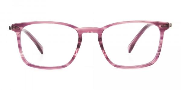 Rectangular Striped Pink Lilac Eyeglasses - 1