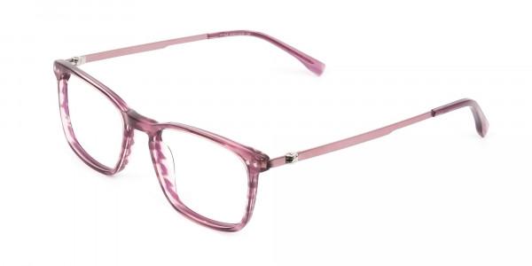 Rectangular Striped Pink Lilac Eyeglasses - 3