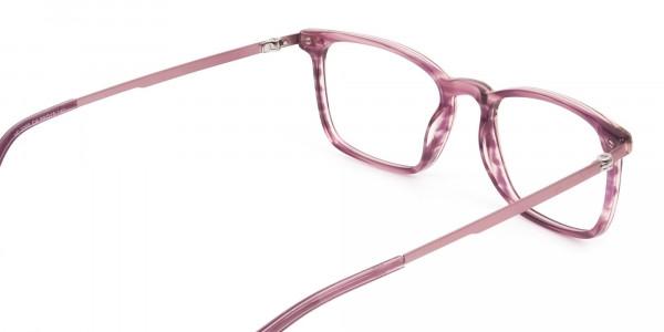 Rectangular Striped Pink Lilac Eyeglasses - 5