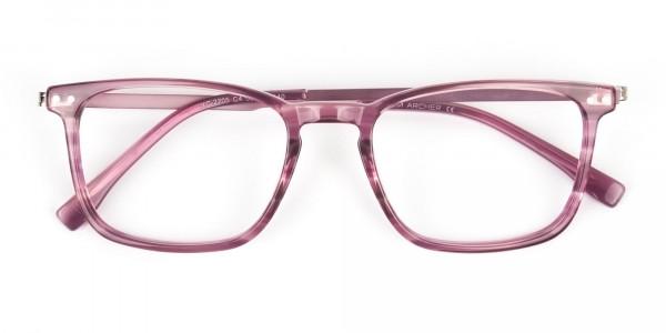 Rectangular Striped Pink Lilac Eyeglasses - 6
