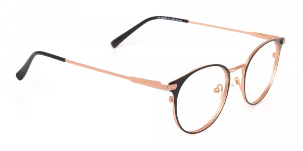 Matte Black & Rose Gold Round Glasses Women-2