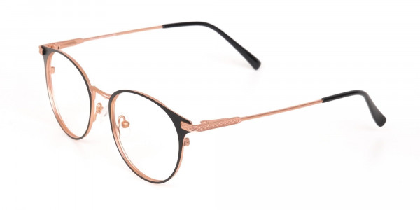 Matte Black & Rose Gold Round Glasses Women-3