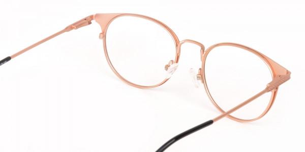 Matte Black & Rose Gold Round Glasses Women-5