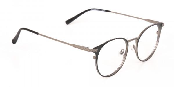 Matte Hunter Green Gunmetal Round Glasses Unisex -2