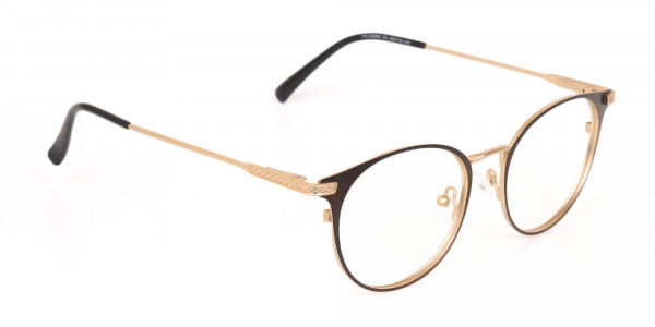 Dark Mocha Brown and Gold Round Glasses Unisex-2