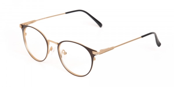 Dark Mocha Brown and Gold Round Glasses Unisex-3