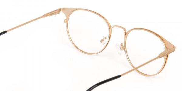 Dark Mocha Brown and Gold Round Glasses Unisex-5