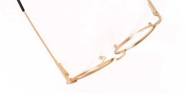 Dark Mocha Brown and Gold Round Glasses Unisex-6