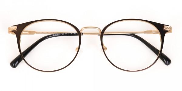 Dark Mocha Brown and Gold Round Glasses Unisex-7
