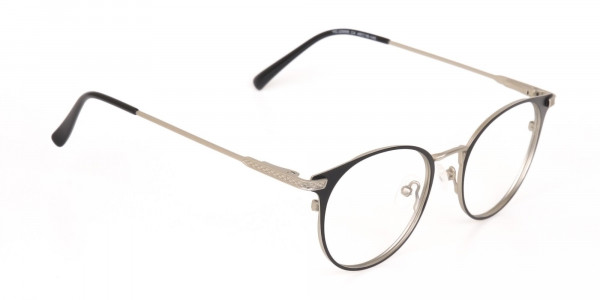 Matte Black and Silver Round Glasses Unisex -2
