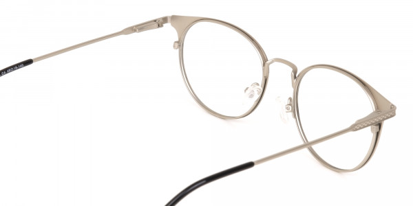 Matte Black and Silver Round Glasses Unisex -5