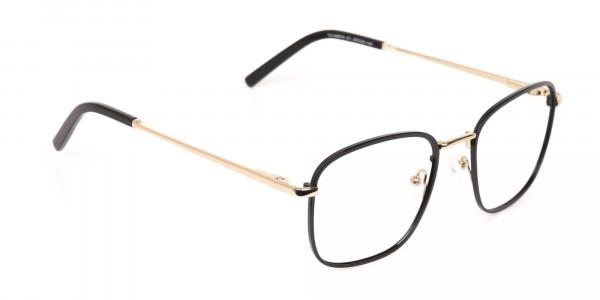Black Gold Wayfarer Metal Glasses Frame Unisex-2