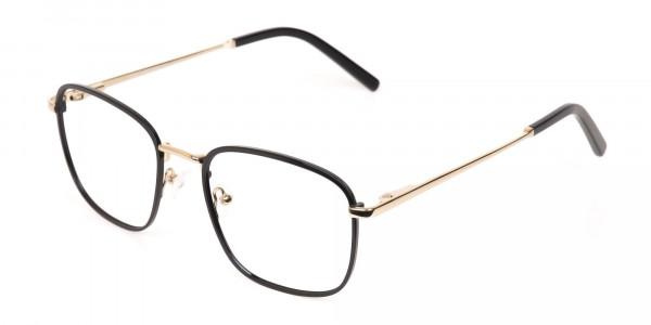 Black Gold Wayfarer Metal Glasses Frame Unisex-3