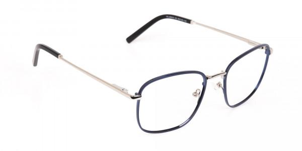 Silver Blue Metal Wayfarer Glasses Frame Unisex-2