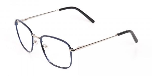 Silver Blue Metal Wayfarer Glasses Frame Unisex-3