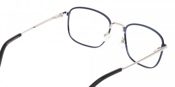 Silver Blue Metal Wayfarer Glasses Frame Unisex-5