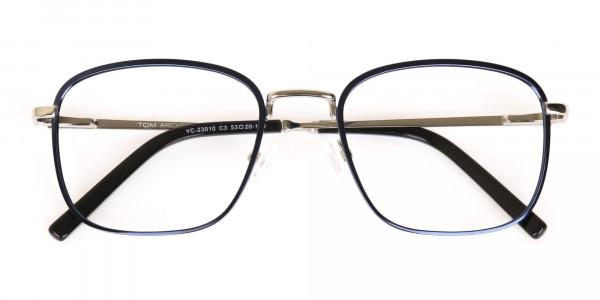 Silver Blue Metal Wayfarer Glasses Frame Unisex-6