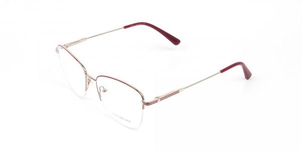 Red & Gold Half Frame Cat Eye Glasses For Women -3