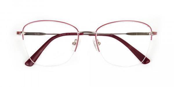 Red & Gold Half Frame Cat Eye Glasses For Women - 6
