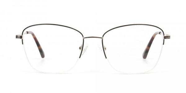 Black & Gold Half Rim Cat Eye Glasses - 1