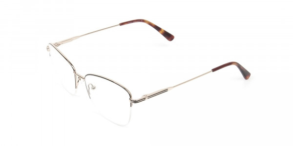 Black & Gold Half Rim Cat Eye Glasses - 3