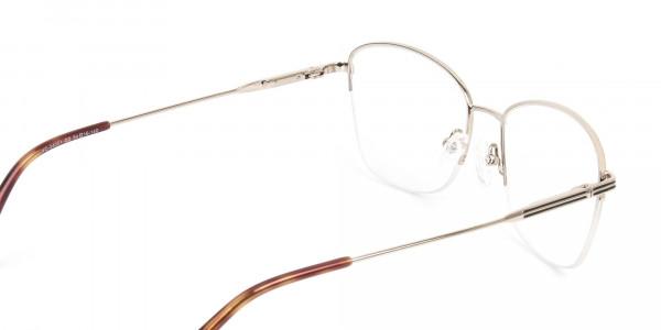 Black & Gold Half Rim Cat Eye Glasses - 5