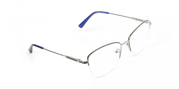 Silver Dark Navy Blue Half Cat Glasses - 2