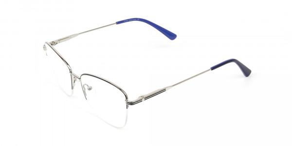 Silver Dark Navy Blue Half Cat Glasses - 3