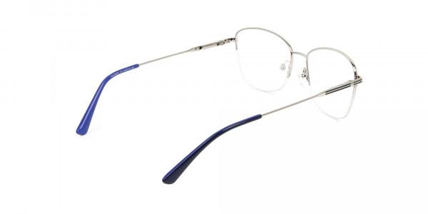 Silver Dark Navy Blue Half Cat Glasses - 5