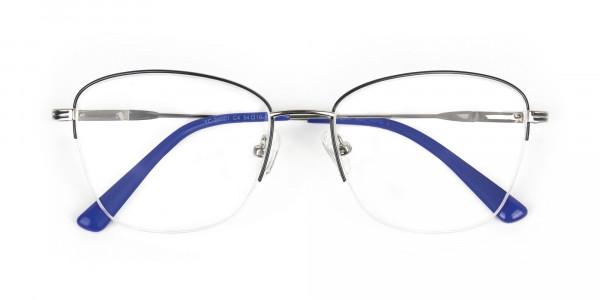 Silver Dark Navy Blue Half Cat Glasses - 6