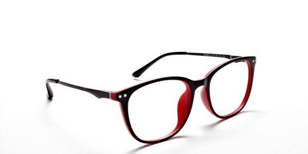 Black & Red Round Glasses, Eyeglasses -2