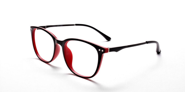 Black & Red Round Glasses, Eyeglasses -3