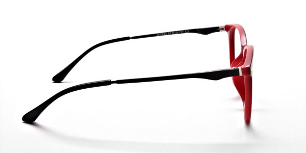 Black & Red Round Glasses, Eyeglasses -4