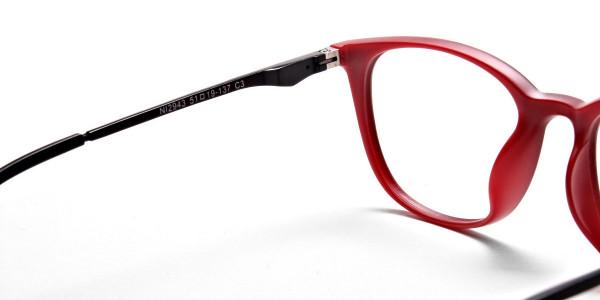 Black & Red Round Glasses, Eyeglasses -5