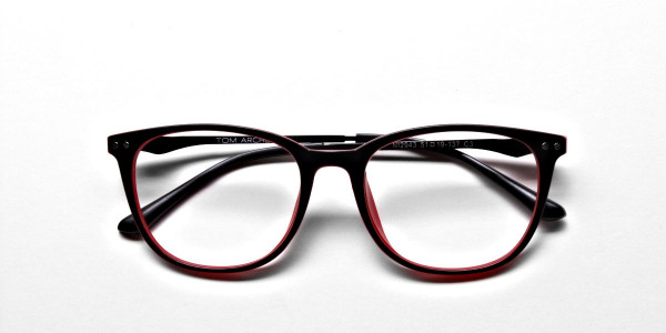Black & Red Round Glasses, Eyeglasses -6