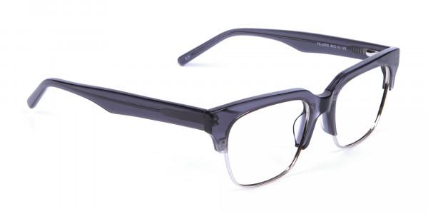 Silver Grey Browline Glasses - 1