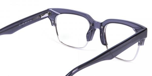 Silver Grey Browline Glasses - 4