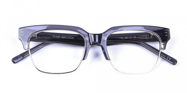 Silver Grey Browline Glasses - 5