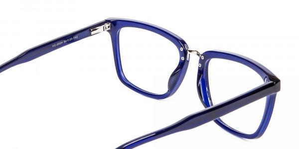 Navy Blue Rectangular Glasses -5