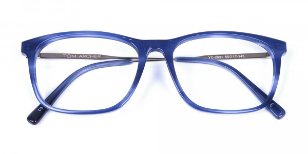 Blue Glasses in Marble Shade - 4