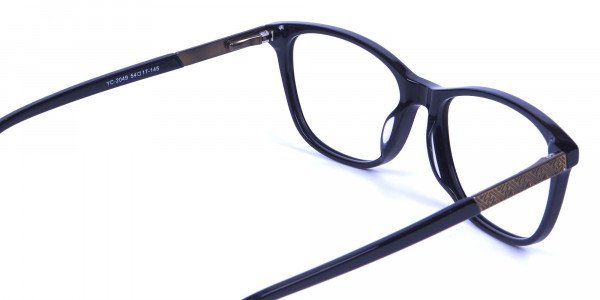 Black and Bronze Cat Eye Style Glasses - 4