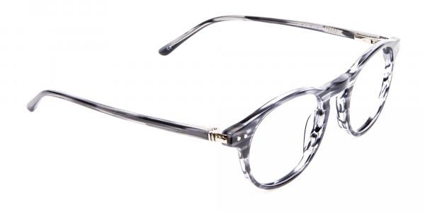 Classic Round Silver Grey Glasses - 1