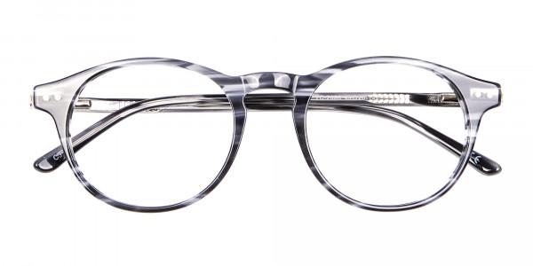 Classic Round Silver Grey Glasses - 5